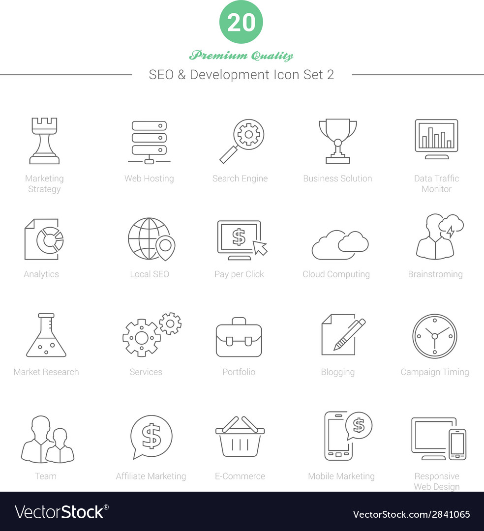 Set of thin line seo and development icons set 2 vector   Price: 1 Credit (USD $1)