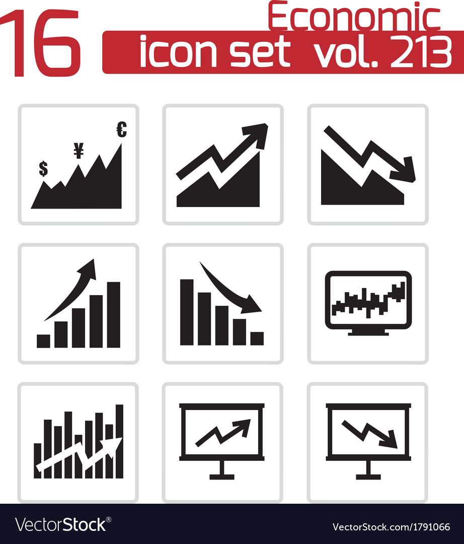 Black economic icons set vector | Price: 1 Credit (USD $1)