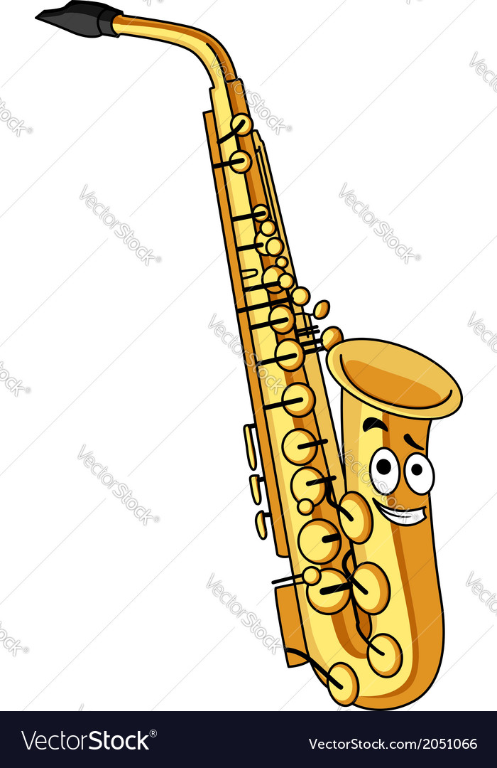 Cartoon brass saxophone vector | Price: 1 Credit (USD $1)