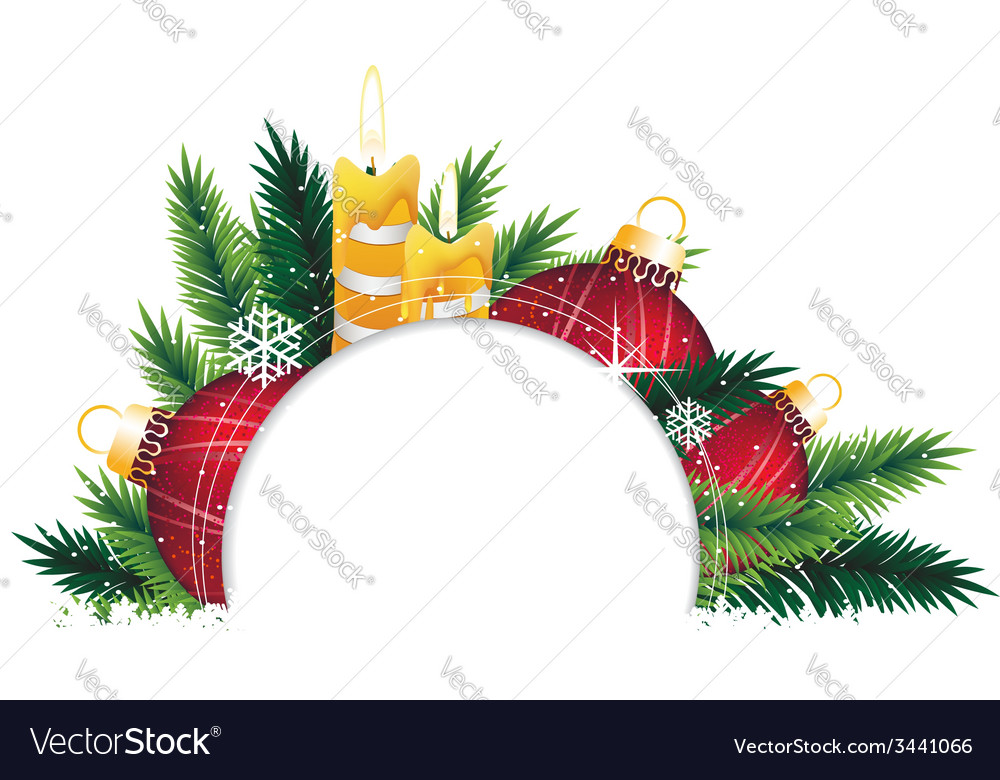 Christmas ornaments and pine tree branches vector   Price: 3 Credit (USD $3)