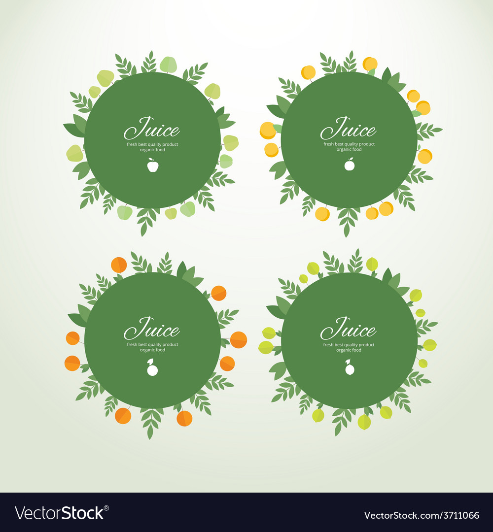 Collection labels with fresh fruits vector | Price: 1 Credit (USD $1)