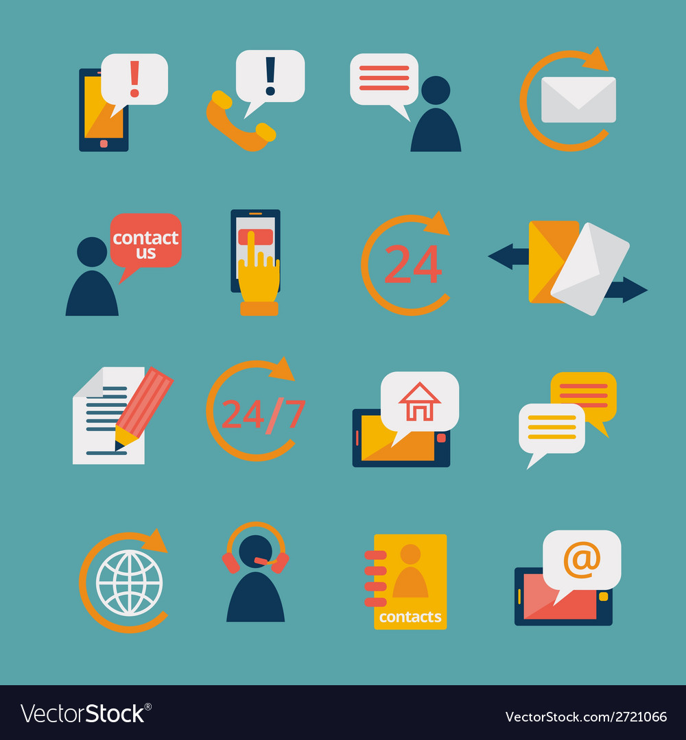 Contact us service icons vector | Price: 1 Credit (USD $1)