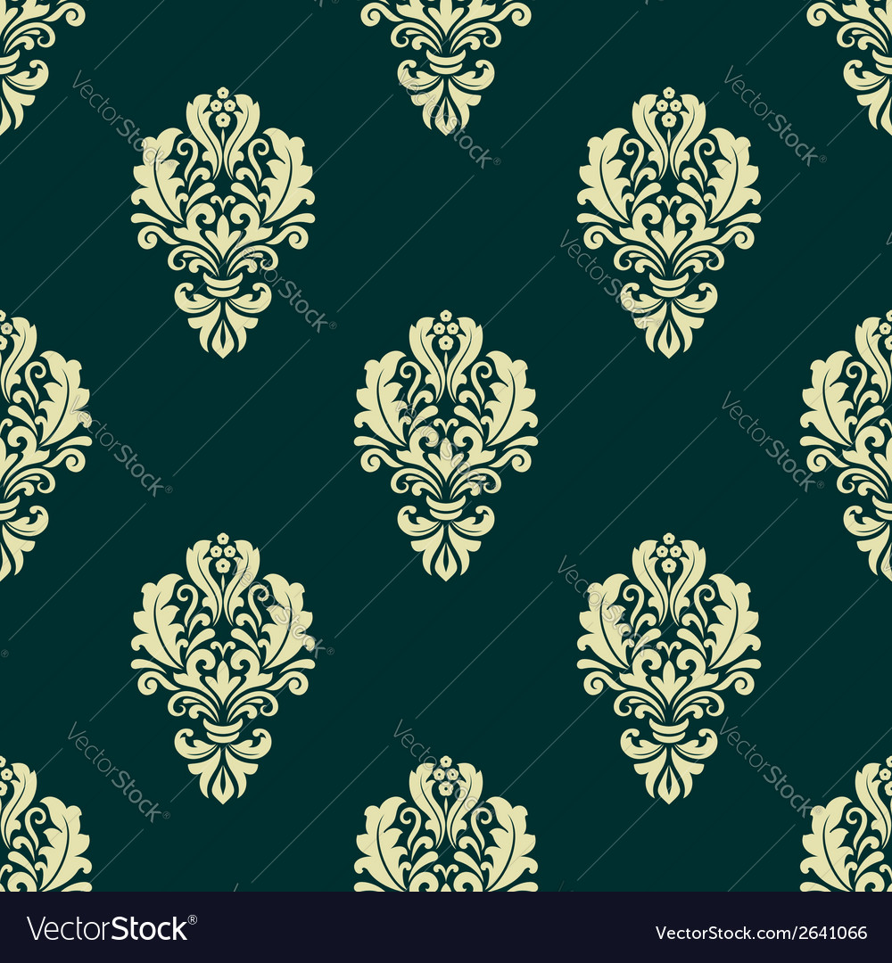Damask style seamless floral pattern with beige vector | Price: 1 Credit (USD $1)