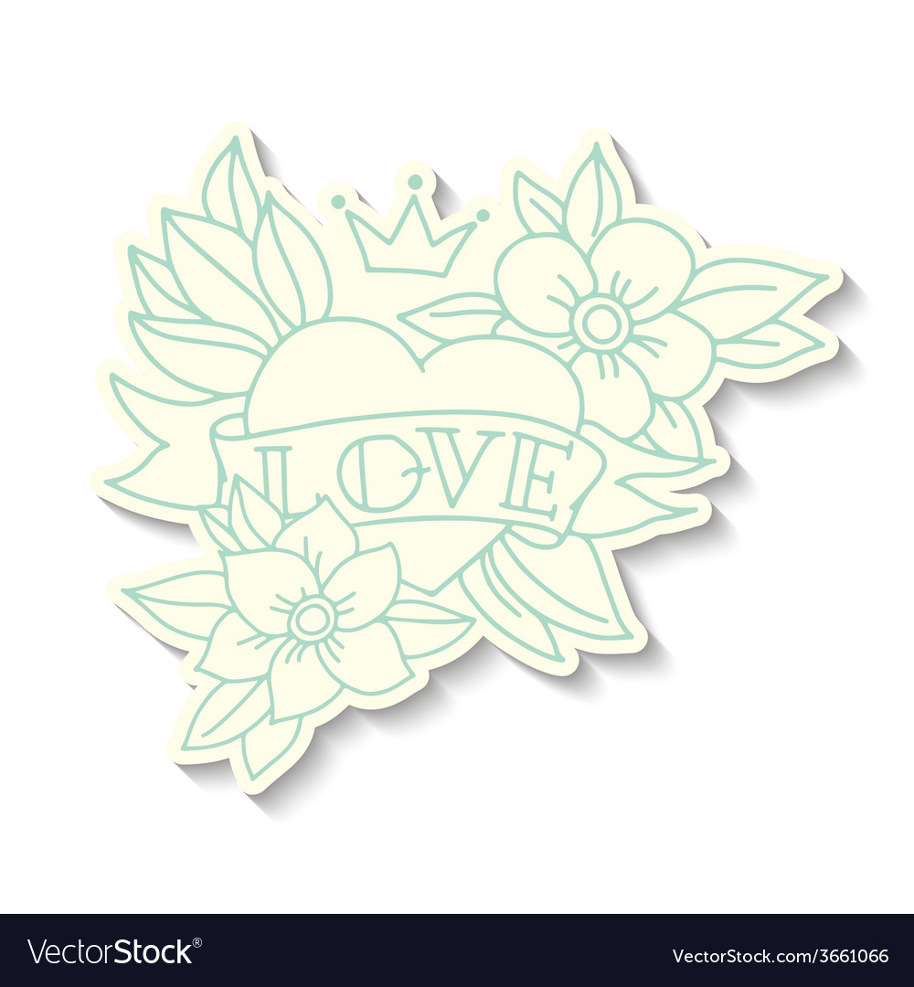 Hand drawn old school tattoo heart sticker vector | Price: 1 Credit (USD $1)