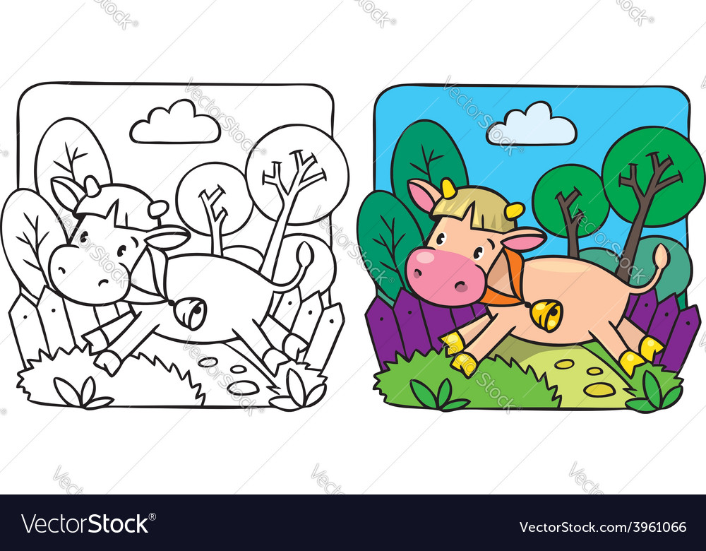 Little cow or calf coloring book vector | Price: 1 Credit (USD $1)