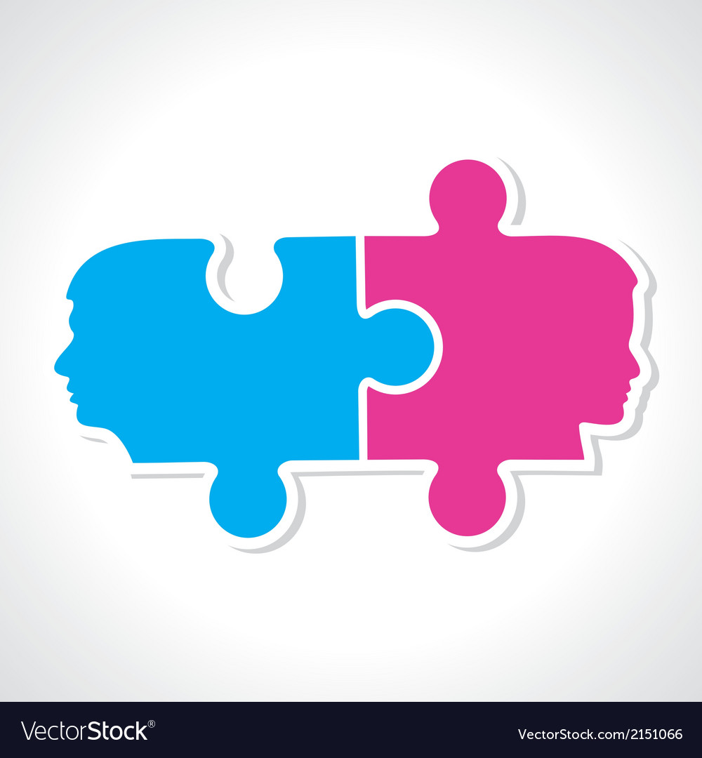 Male and female face with puzzle pieces vector | Price: 1 Credit (USD $1)
