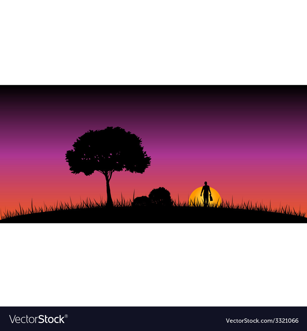 Man in the nature on a moonlight color vector | Price: 1 Credit (USD $1)