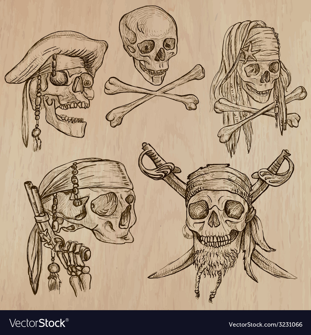 Pirates - skulls collection line art vector | Price: 1 Credit (USD $1)