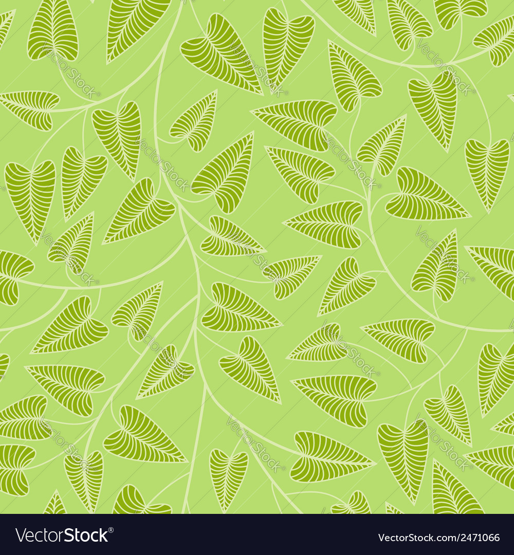 Seamless green leaves background vector | Price: 1 Credit (USD $1)