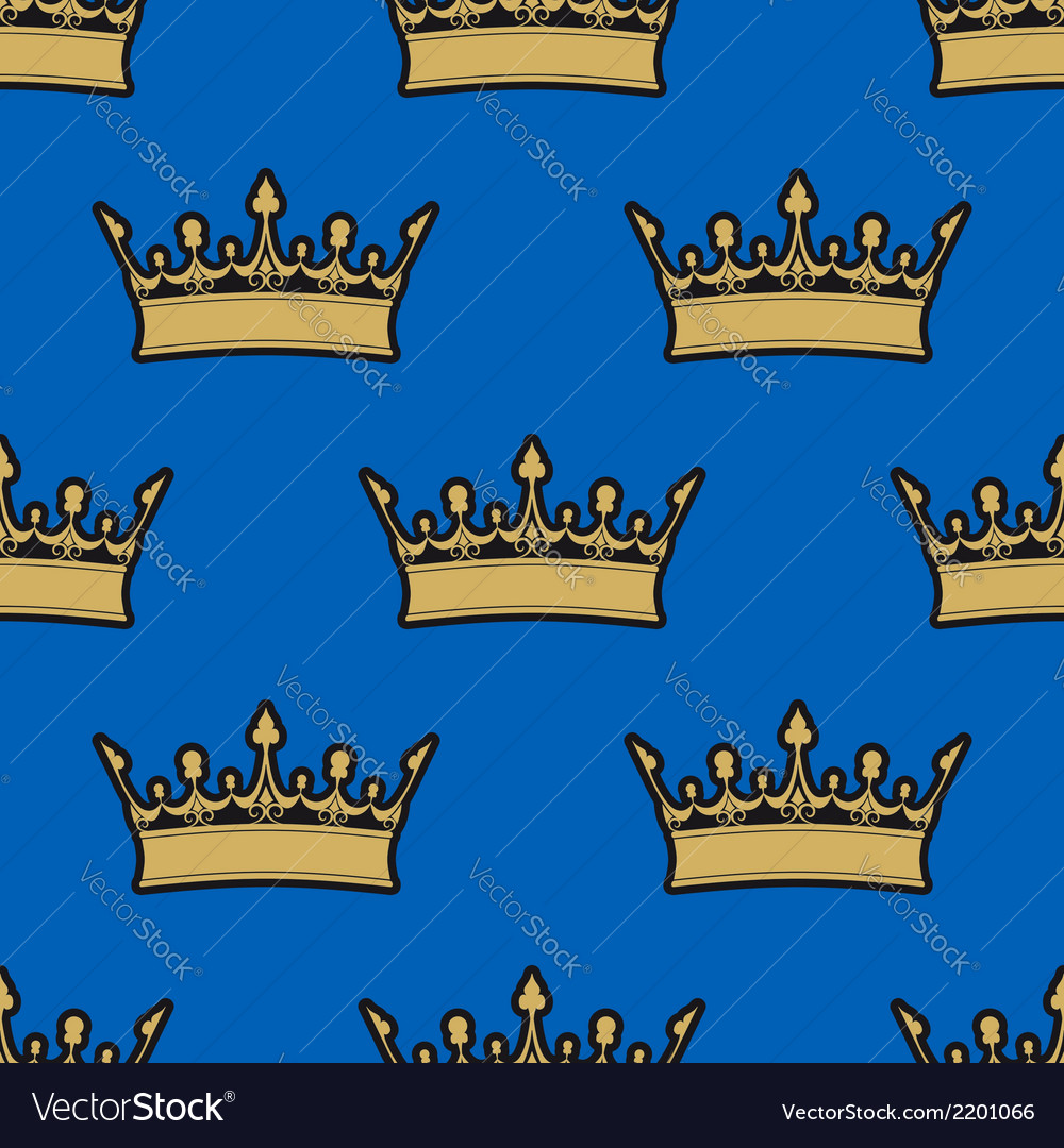 Seamless pattern of gold crowns vector | Price: 1 Credit (USD $1)