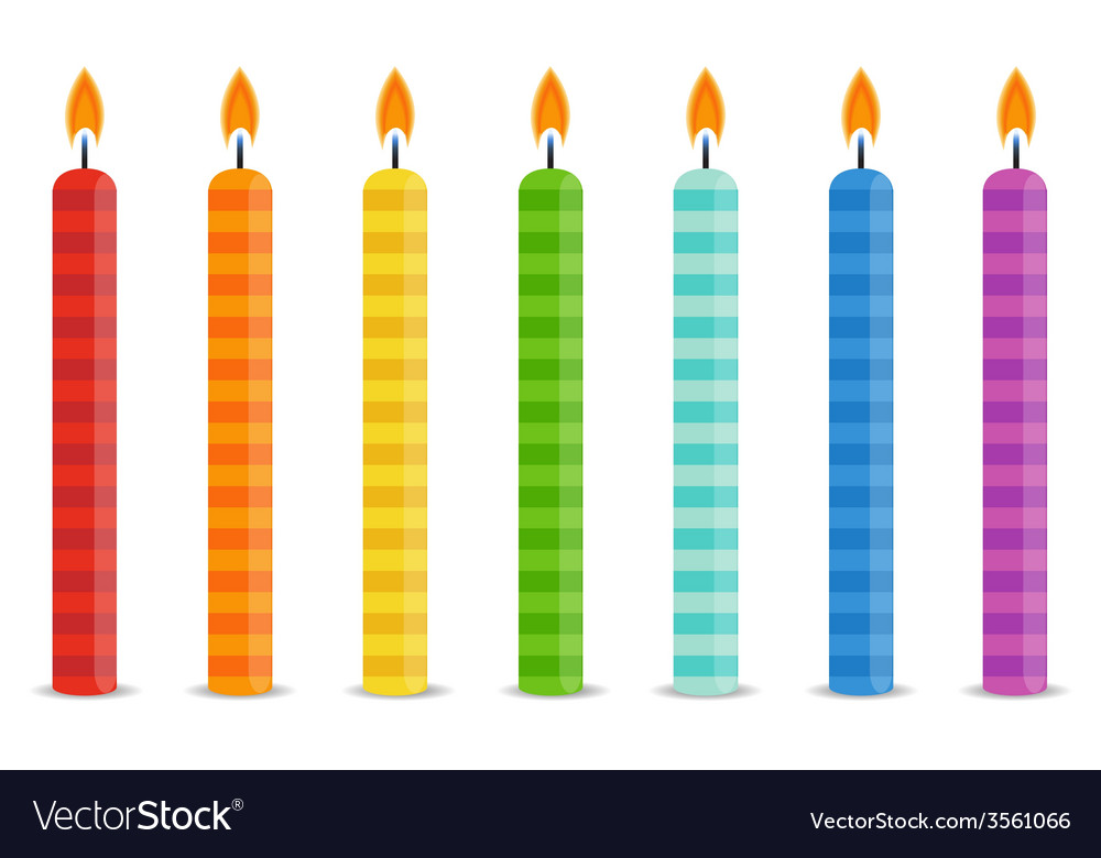 Set of color birthday candles vector | Price: 1 Credit (USD $1)
