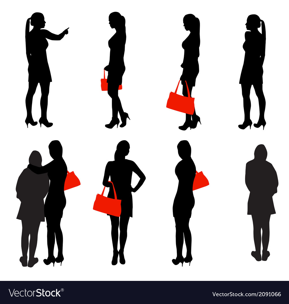 Set of silhouette people vector | Price: 1 Credit (USD $1)