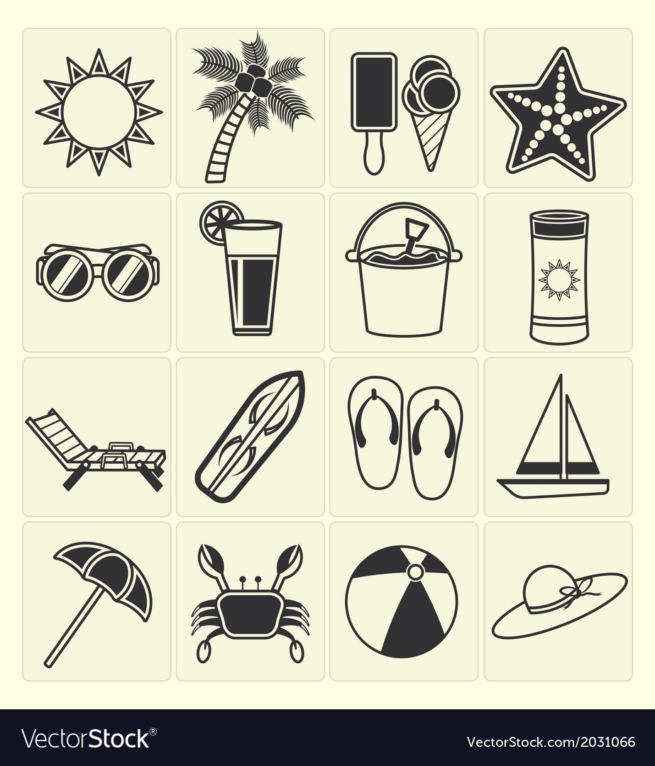 Summer beach icons vector | Price: 1 Credit (USD $1)
