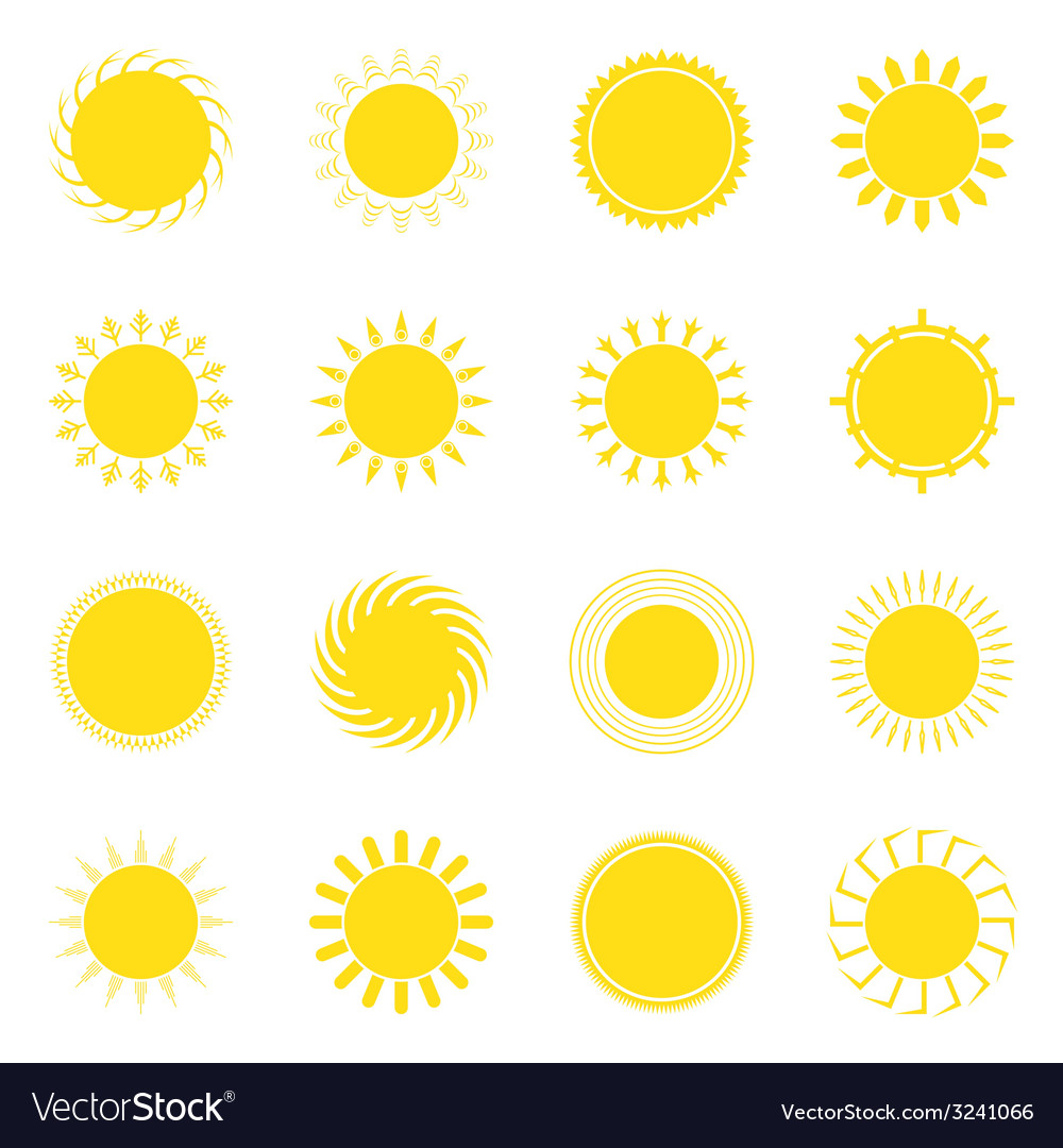 Sun icon set vector | Price: 1 Credit (USD $1)