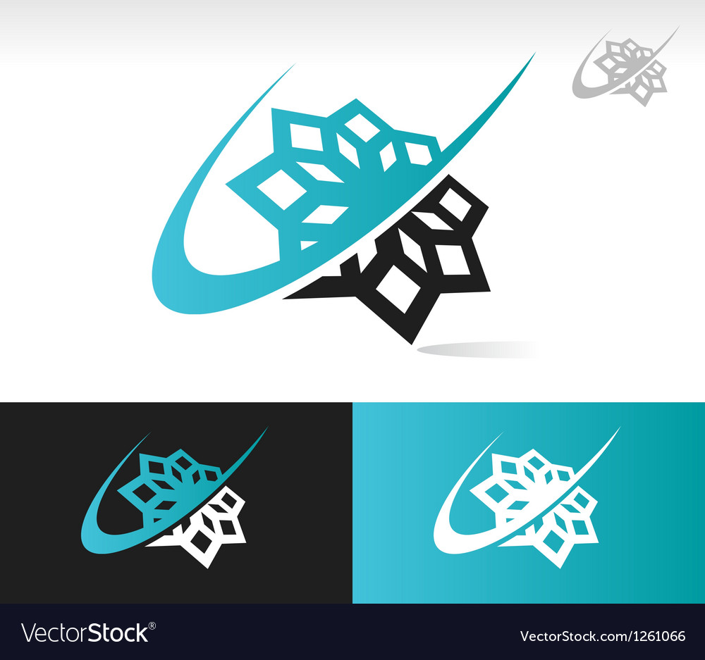 Swoosh snowflake logo icon vector | Price: 1 Credit (USD $1)