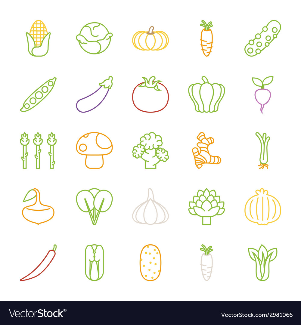 Vegetables icons flat design vector | Price: 1 Credit (USD $1)