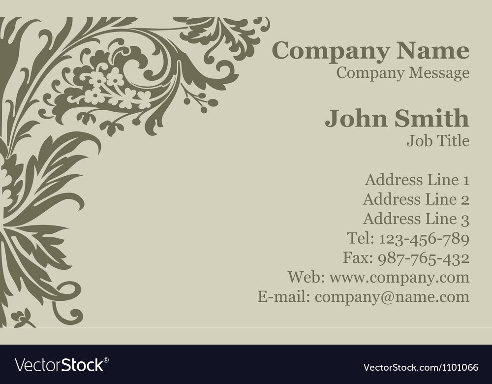 Victorian damask business card vector | Price: 1 Credit (USD $1)