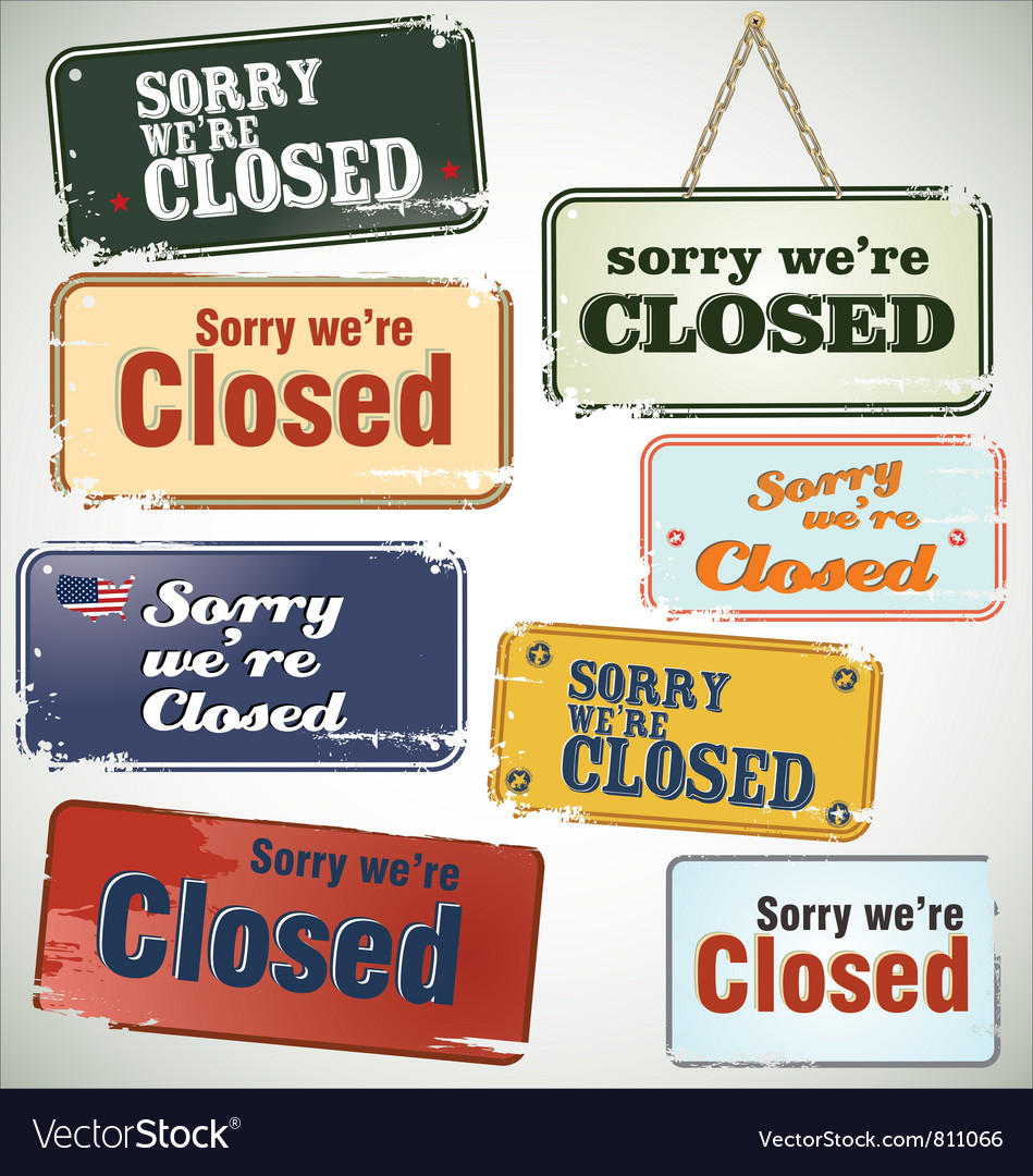 Vintage sign closed vector | Price: 1 Credit (USD $1)