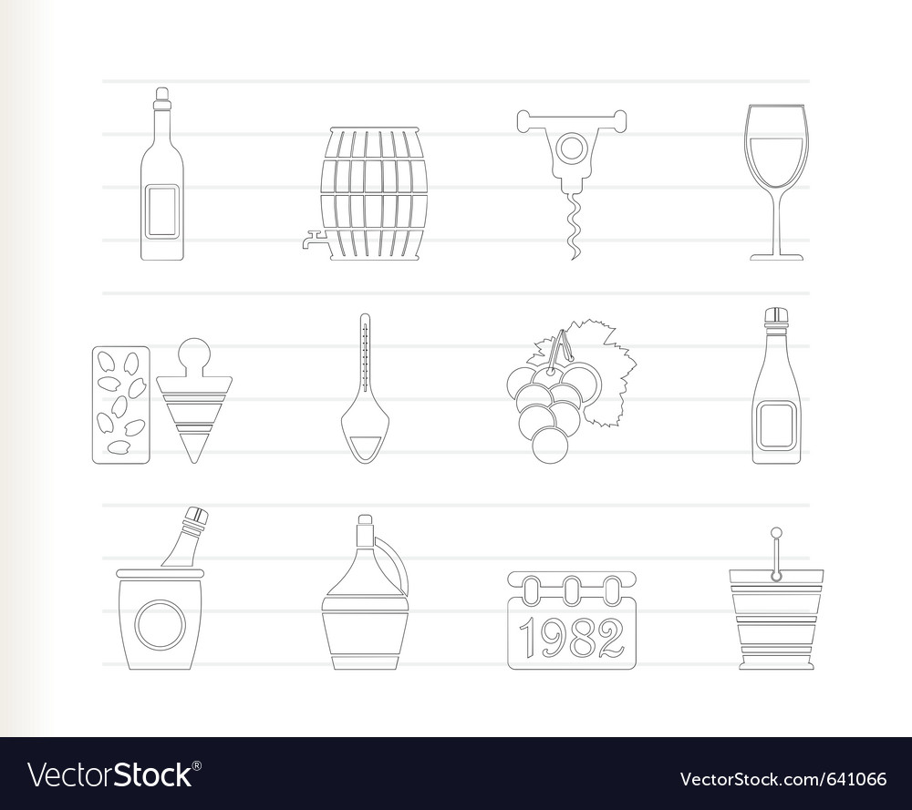 Wine and drink icons vector | Price: 1 Credit (USD $1)