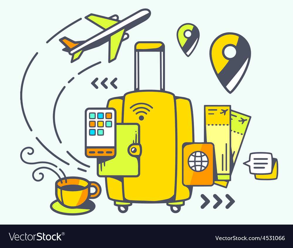 Yellow suitcase and travel accessories vector | Price: 1 Credit (USD $1)