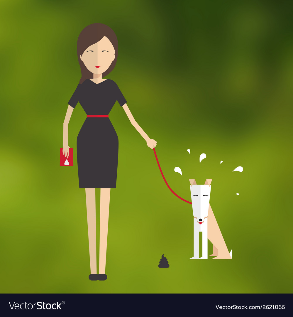 Young woman walking a dog and cleans her flat vector | Price: 1 Credit (USD $1)