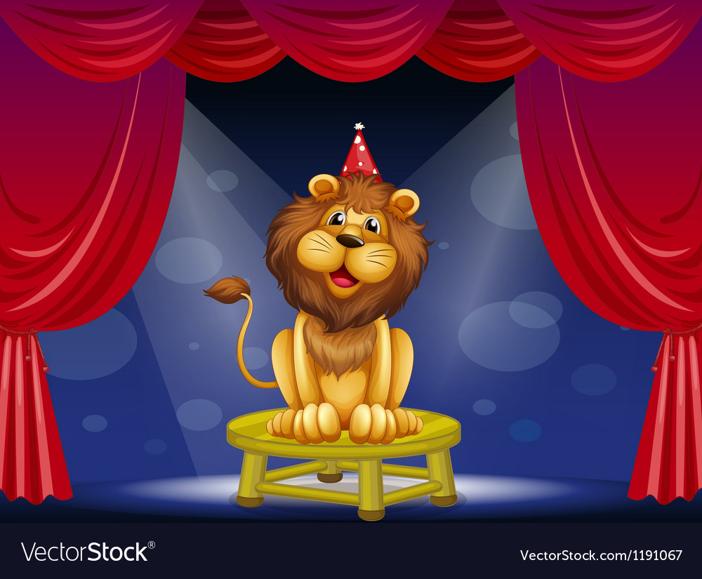 A lion sitting above a round table vector