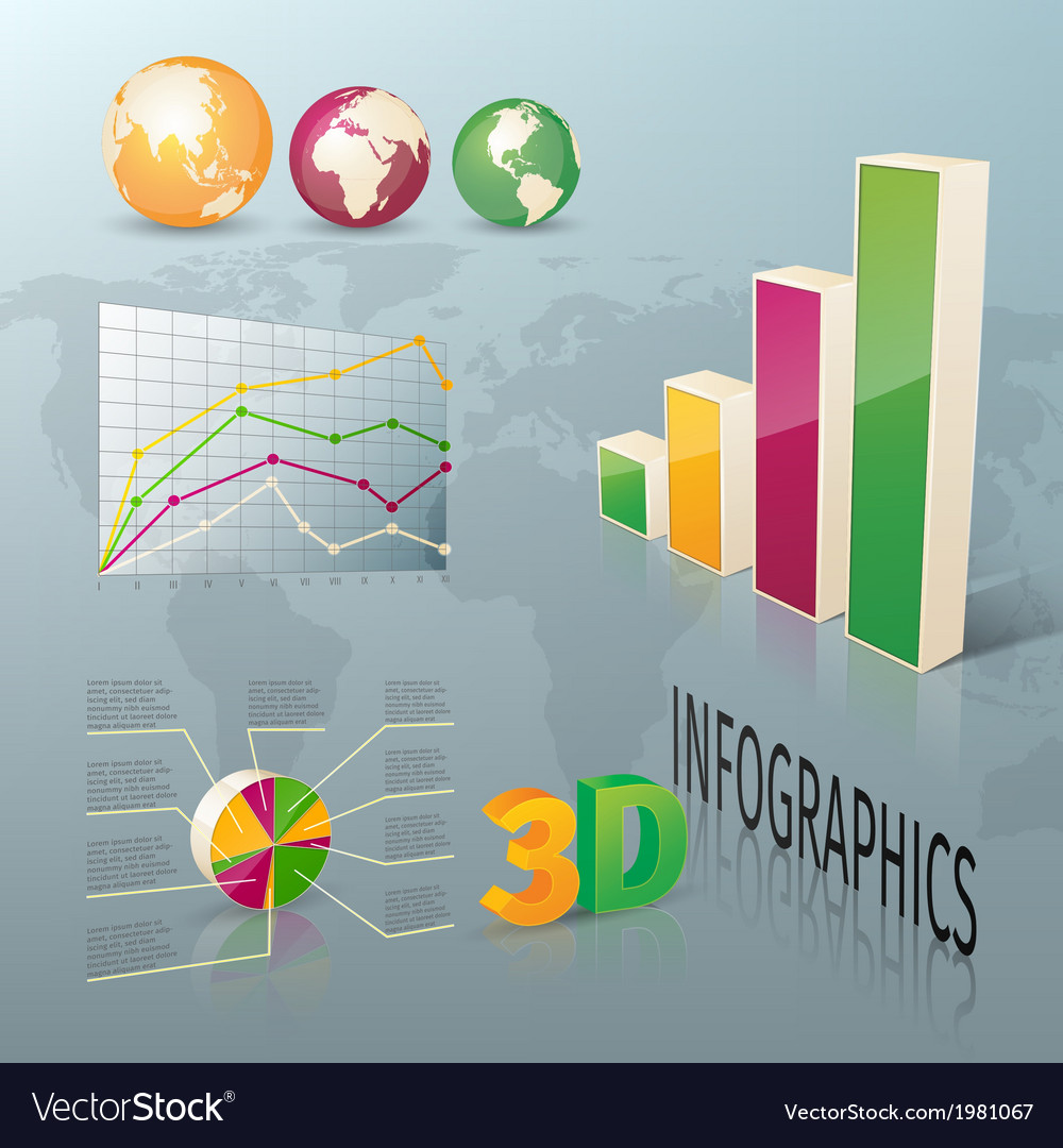 Abstract 3d business infographics design elements vector | Price: 1 Credit (USD $1)