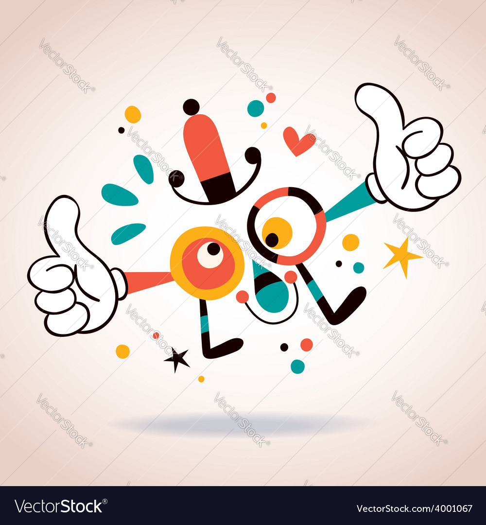 Abstract cartoon character mascot thumbs up vector | Price: 1 Credit (USD $1)