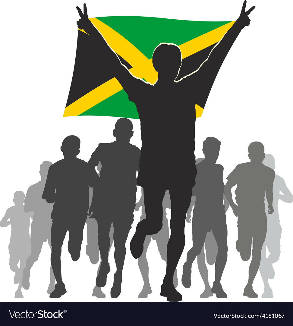 Athlete with the jamaica flag at the finish vector | Price: 1 Credit (USD $1)