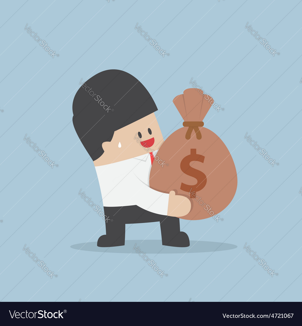 Businessman holding a money bag with dollar sign vector | Price: 1 Credit (USD $1)