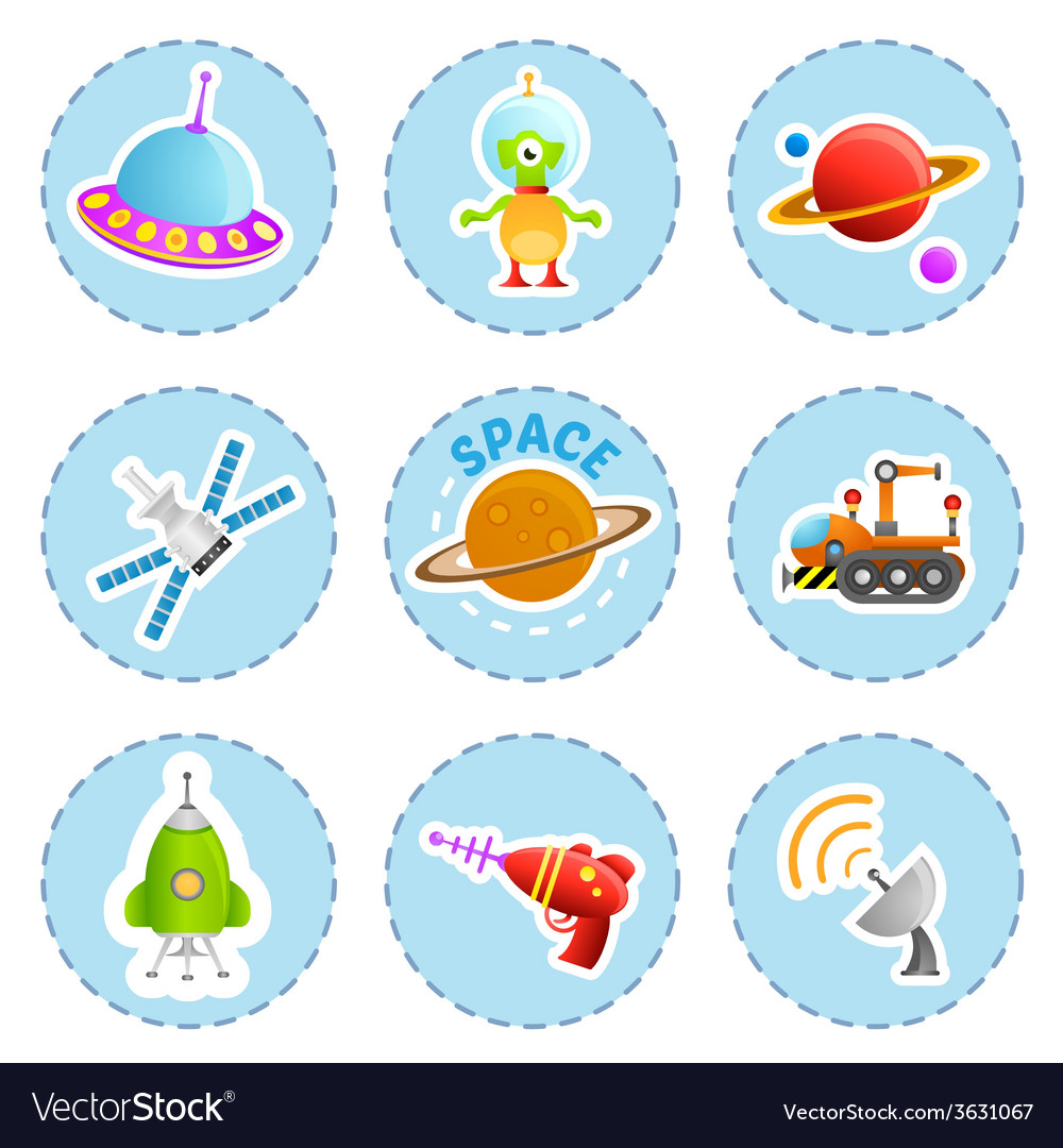 Cartoon space icons vector | Price: 1 Credit (USD $1)