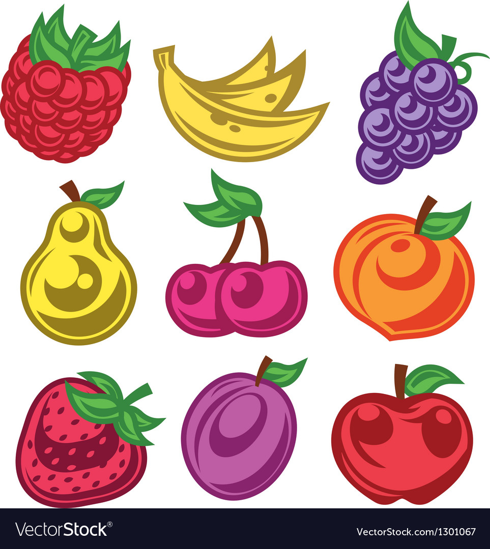 Colorized stylized fruit icons vector | Price: 1 Credit (USD $1)