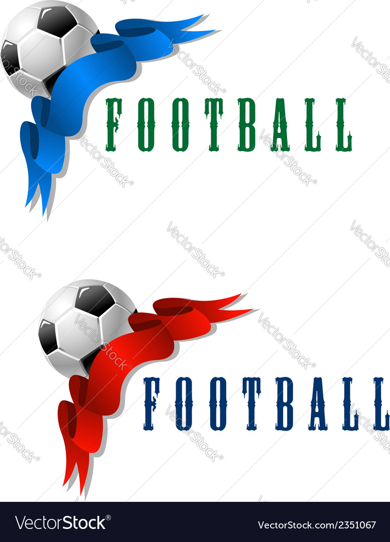 Football or soccer ball symbol with blue and red vector | Price: 1 Credit (USD $1)