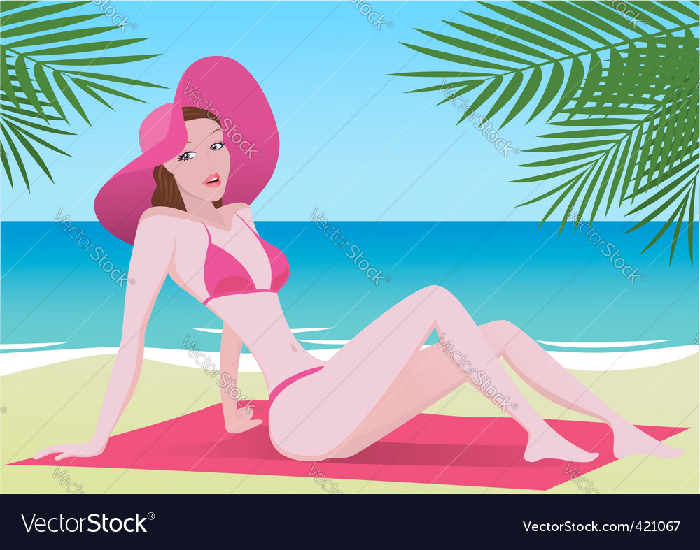 Girl sunbathing vector | Price: 3 Credit (USD $3)