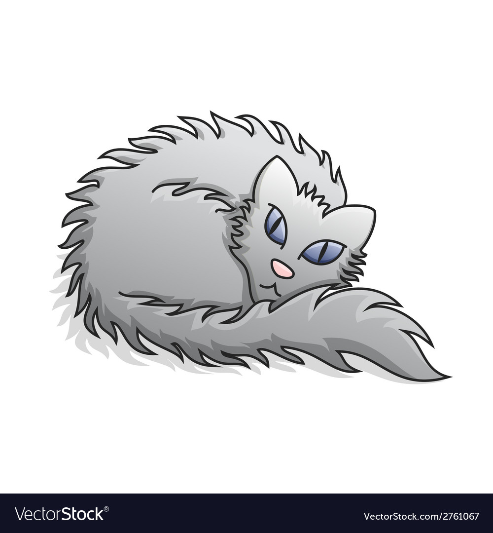 Light grey fluffy cat vector | Price: 1 Credit (USD $1)