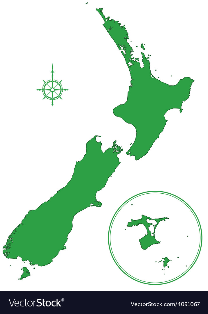 New zealand map vector | Price: 1 Credit (USD $1)