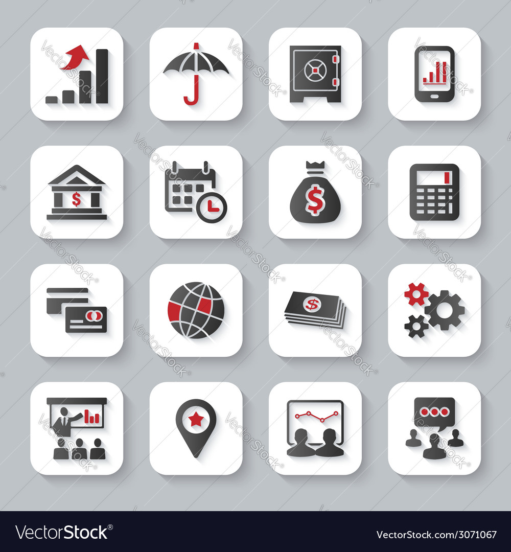 Set of flat modern business web icons vector | Price: 1 Credit (USD $1)
