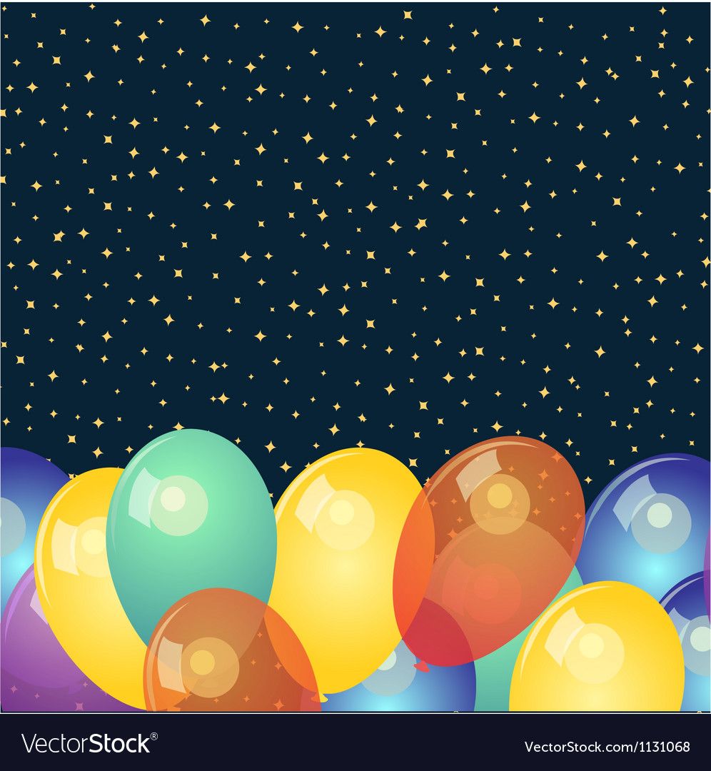 Background with colorful balloons and stars vector | Price: 1 Credit (USD $1)