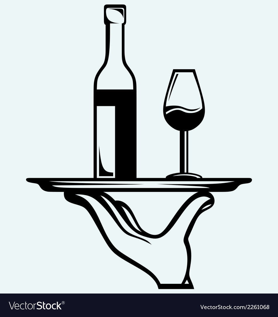 Bottle of wine with a glass on a tray vector | Price: 1 Credit (USD $1)