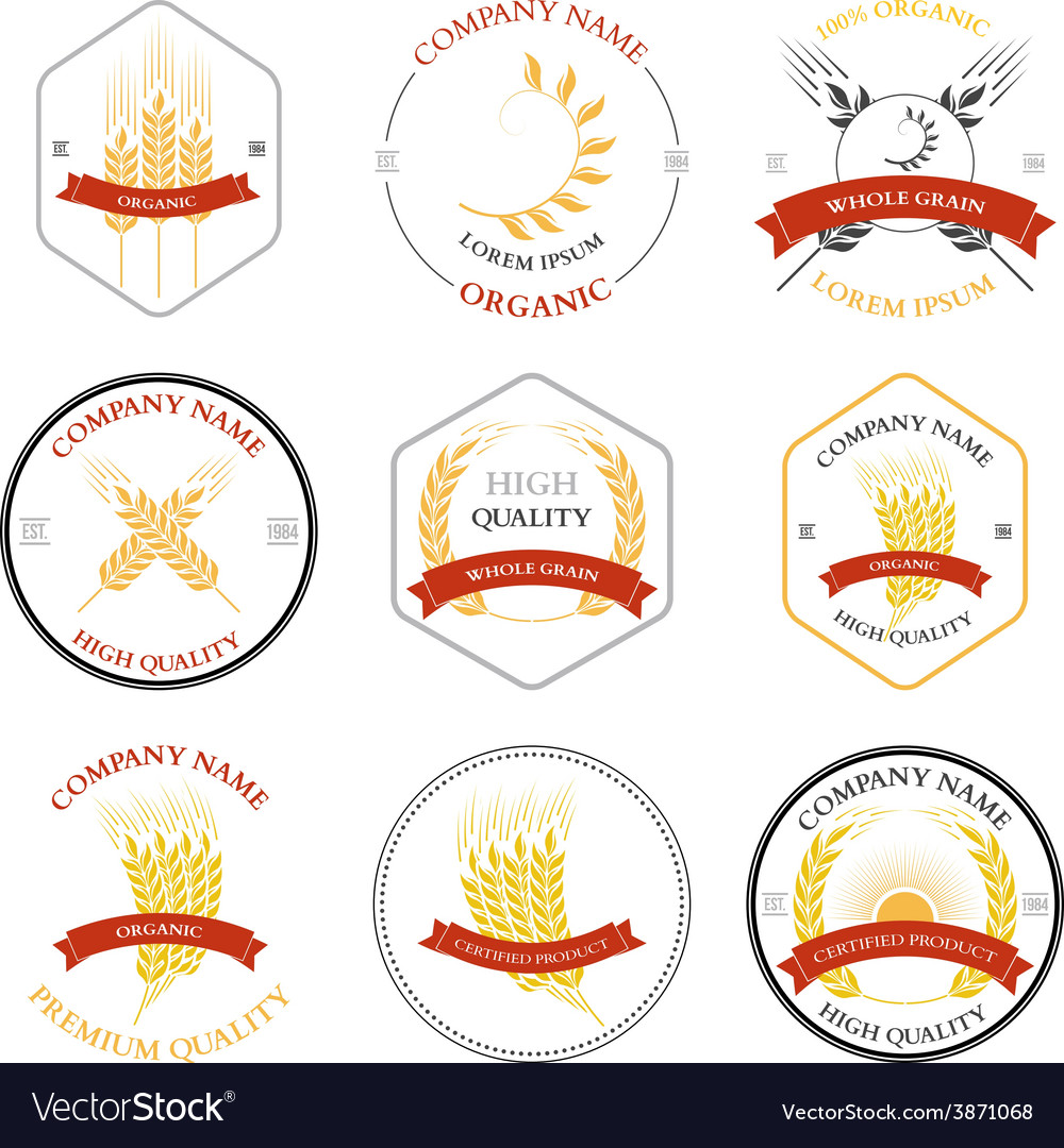 Ears of wheat and rye set labels badges vector | Price: 1 Credit (USD $1)
