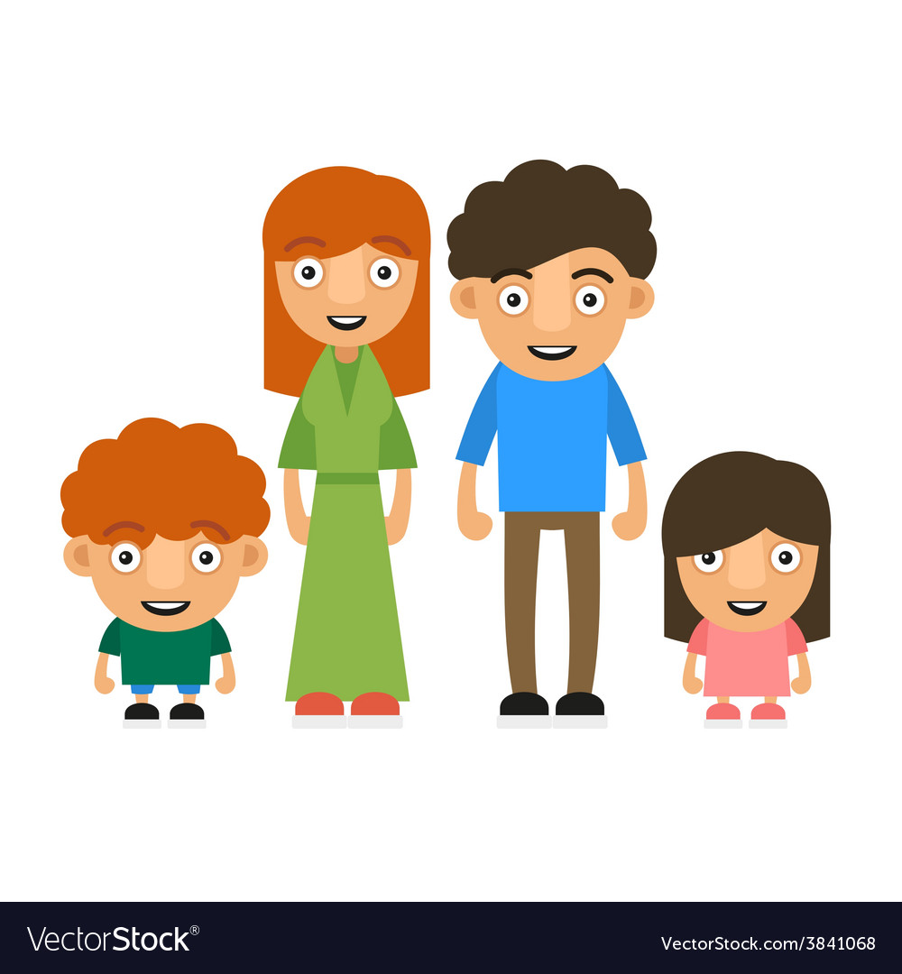 Family with two children vector | Price: 1 Credit (USD $1)