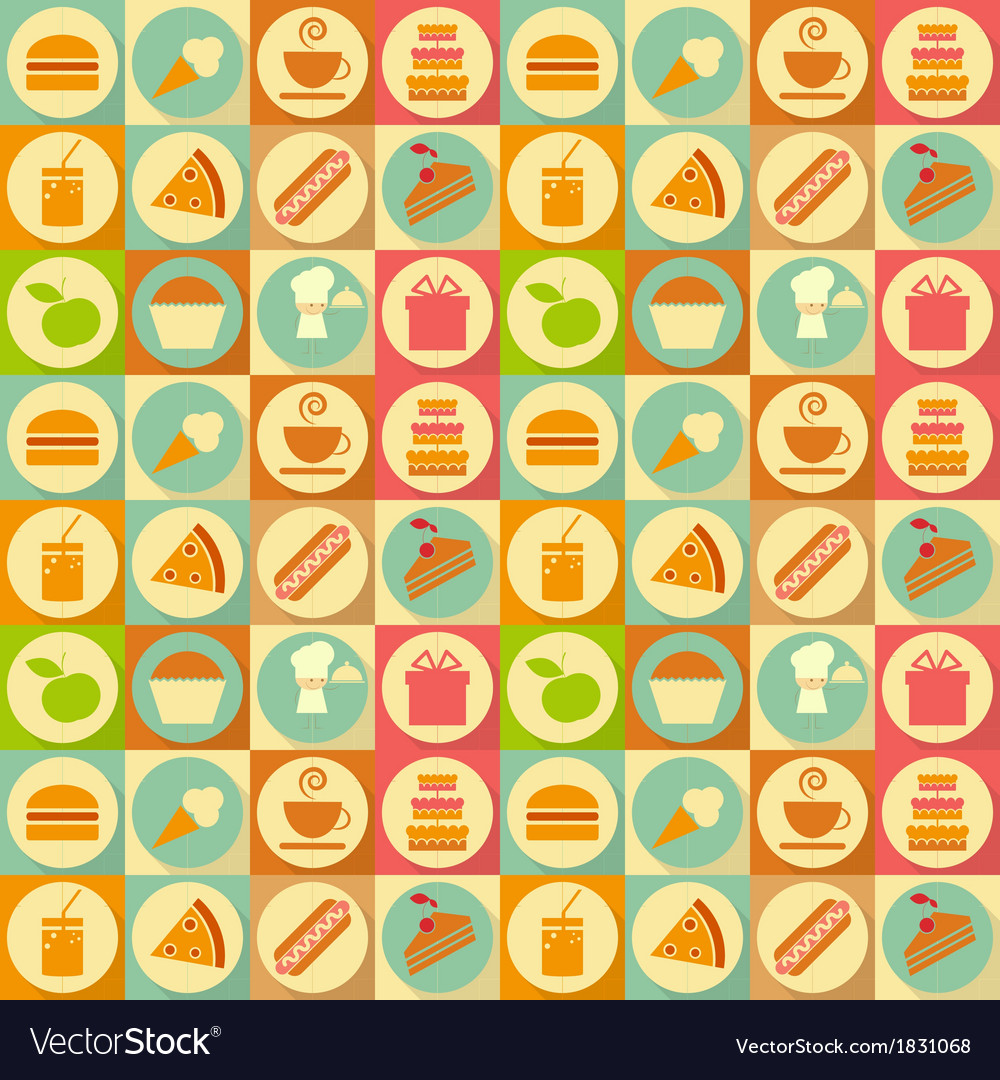 Flat food seamless vector | Price: 1 Credit (USD $1)