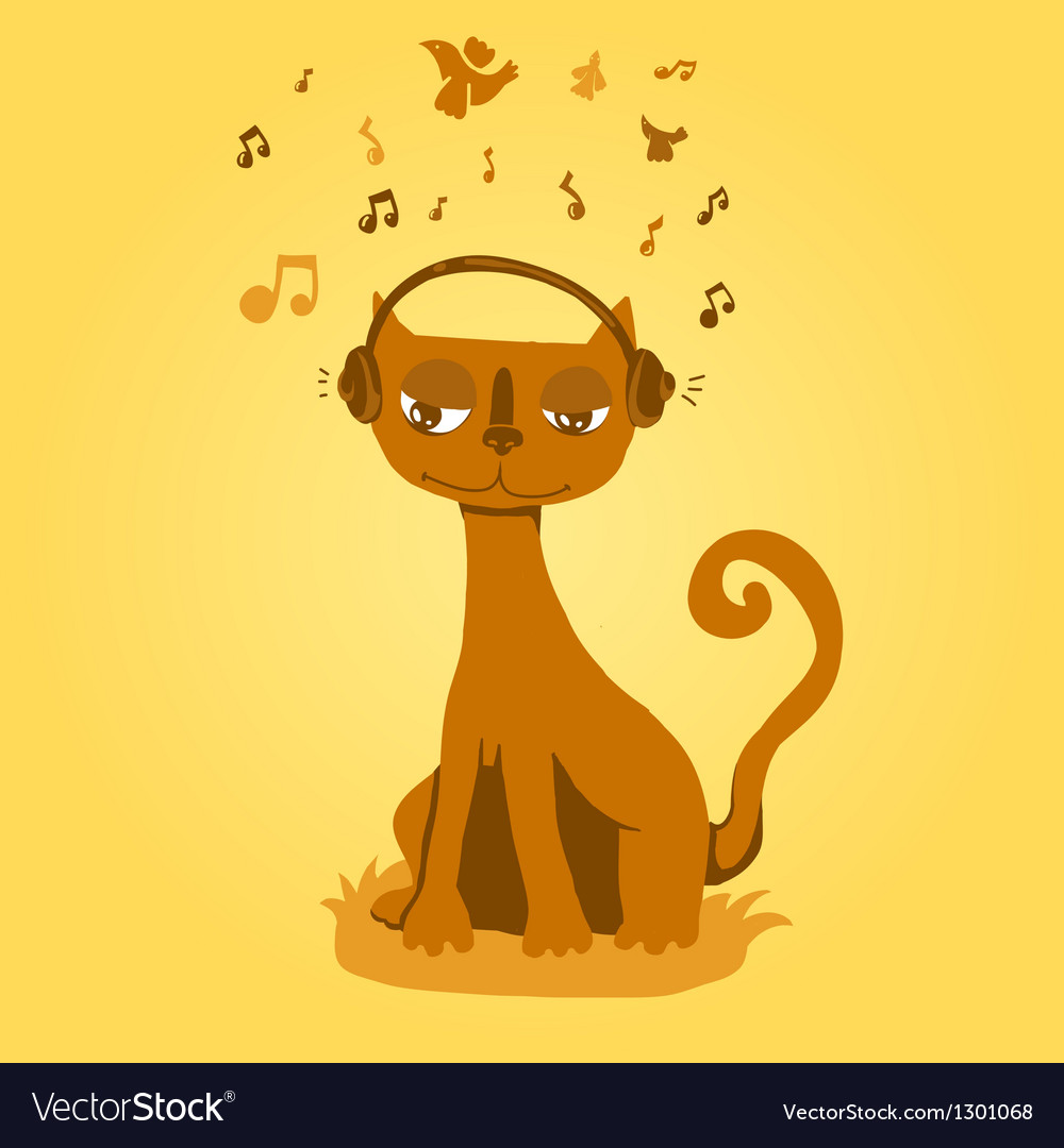 Funny cat listens to music vector | Price: 1 Credit (USD $1)