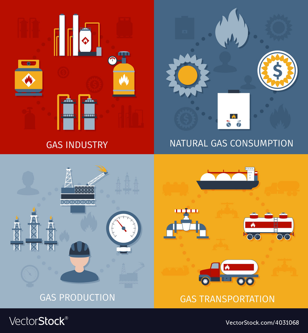 Gas industry flat icons composition vector | Price: 1 Credit (USD $1)