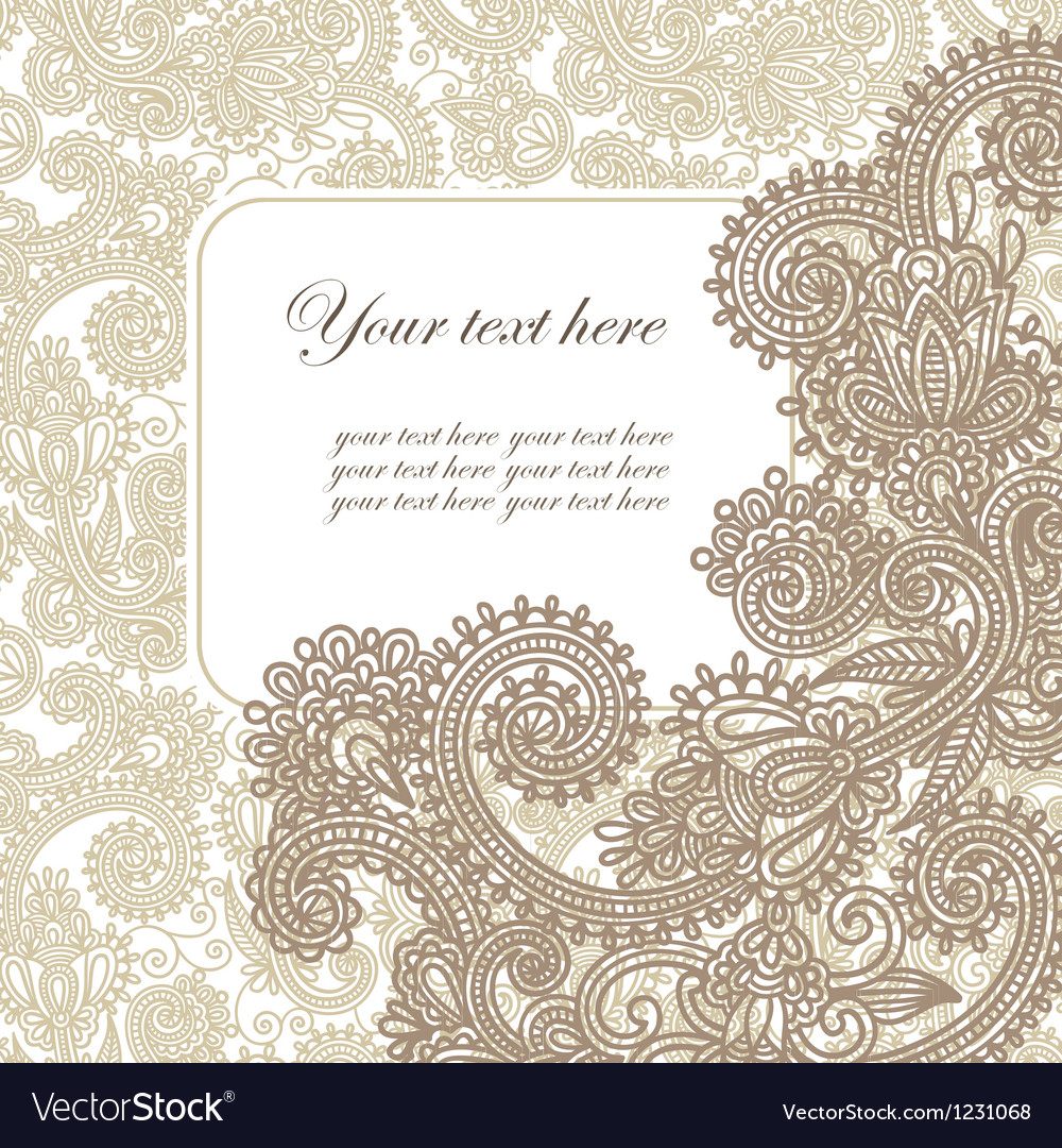 Hand draw frame ornate card announcement vector | Price: 1 Credit (USD $1)