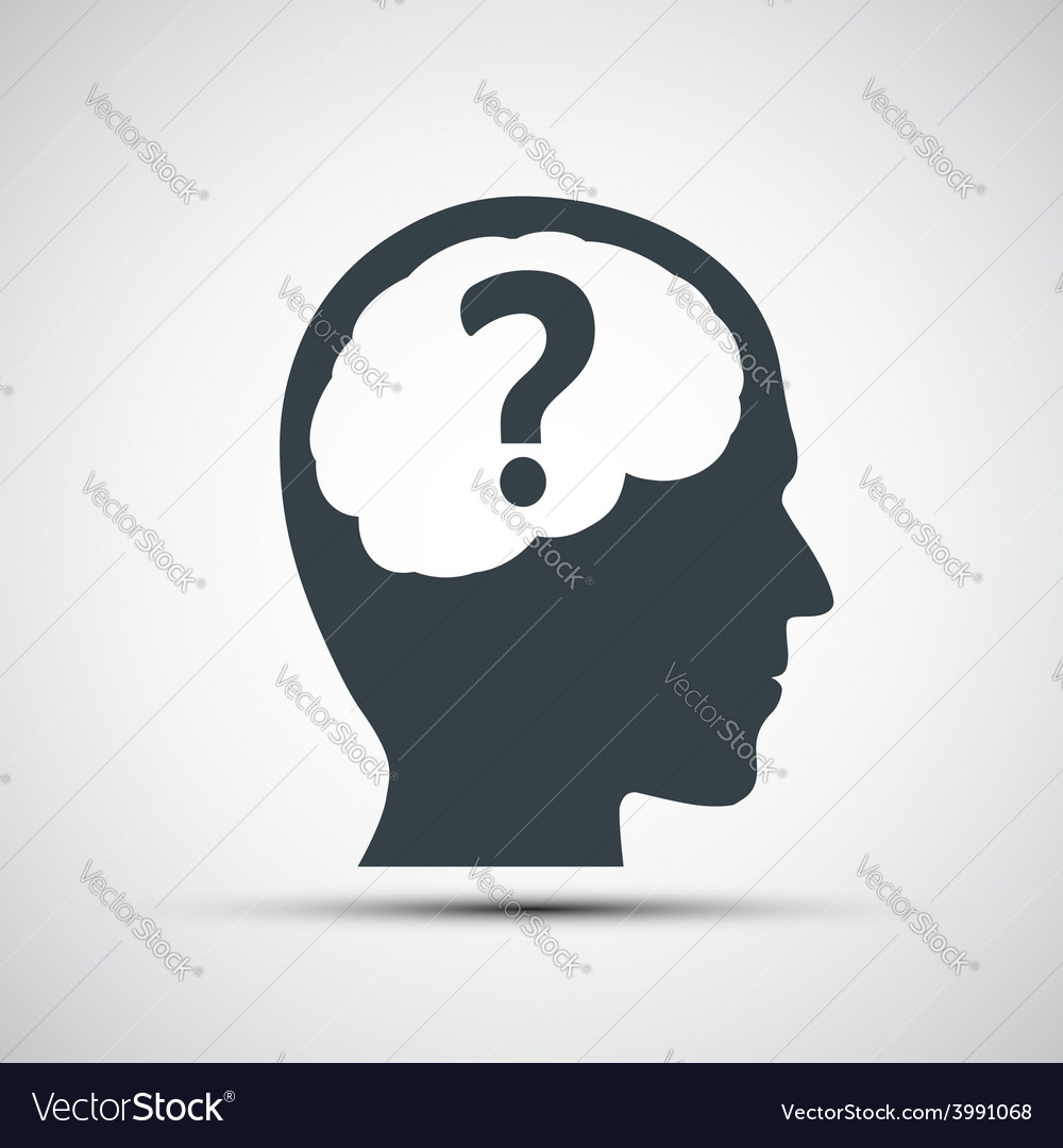 Icon of human head with a question mark vector   Price: 1 Credit (USD $1)