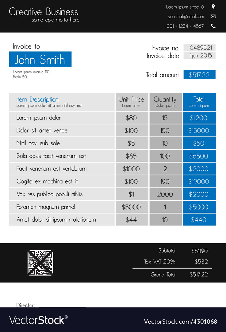 Invoice template - clean modern style of blue vector | Price: 1 Credit (USD $1)