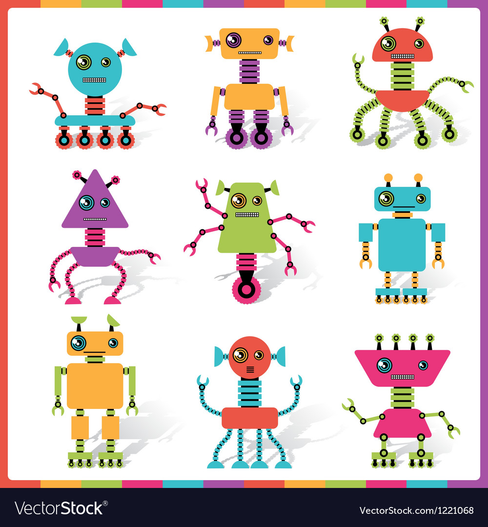 Little abstract robot doodle collection vector | Price: 1 Credit (USD $1)
