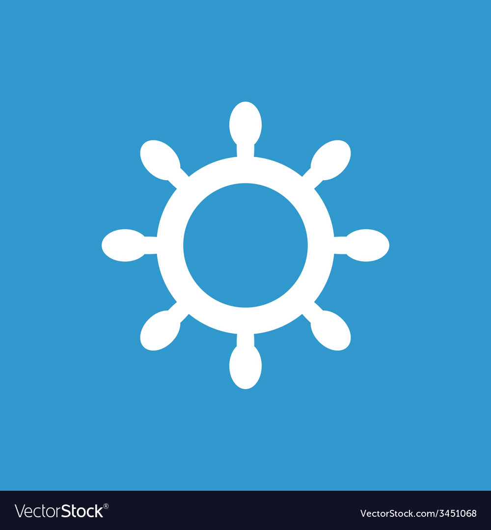 Ship wheel icon white on the blue background vector | Price: 1 Credit (USD $1)