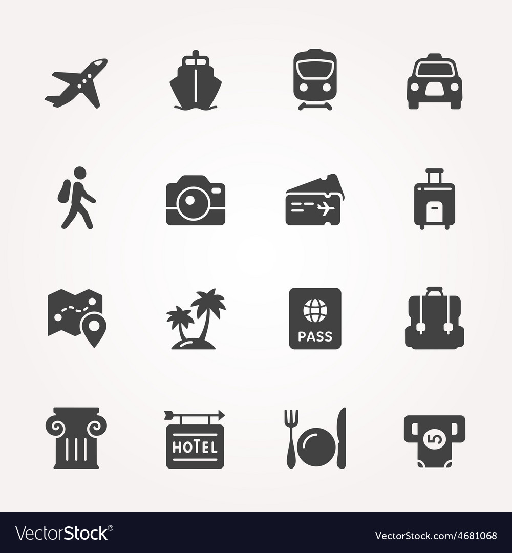 Traveling and transport icon set vector | Price: 1 Credit (USD $1)
